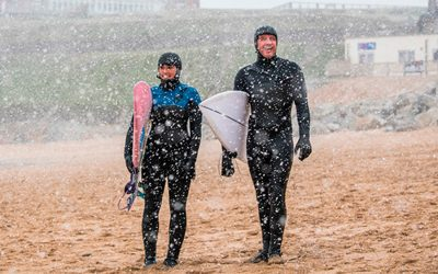 Coldwater Surfing in the Snow
