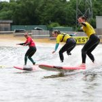 Girls on Board in Surf Snowdonia