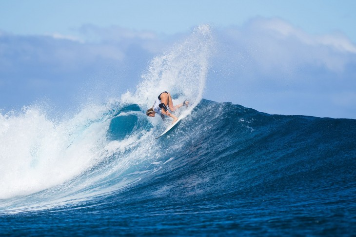 Laura Enever of North Narrabeen, Sydney, Australia (pictured) posting a near perfect 9.43 ride (out of ten) to win her Round 1 heat at the Womens Fiji Pro in Fiji on June 1, 2015.